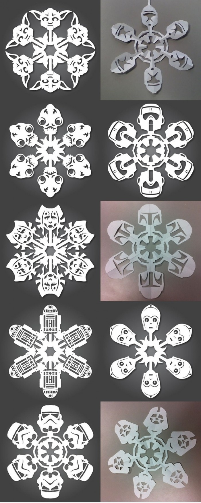 star wars snowflakes- i made r2 last year but i have to make them all!