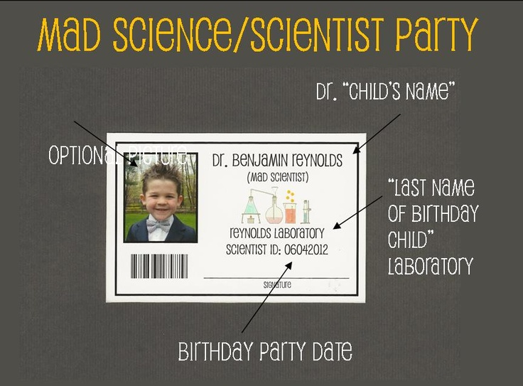Science Tags: Name Badge With Mad Science Theme