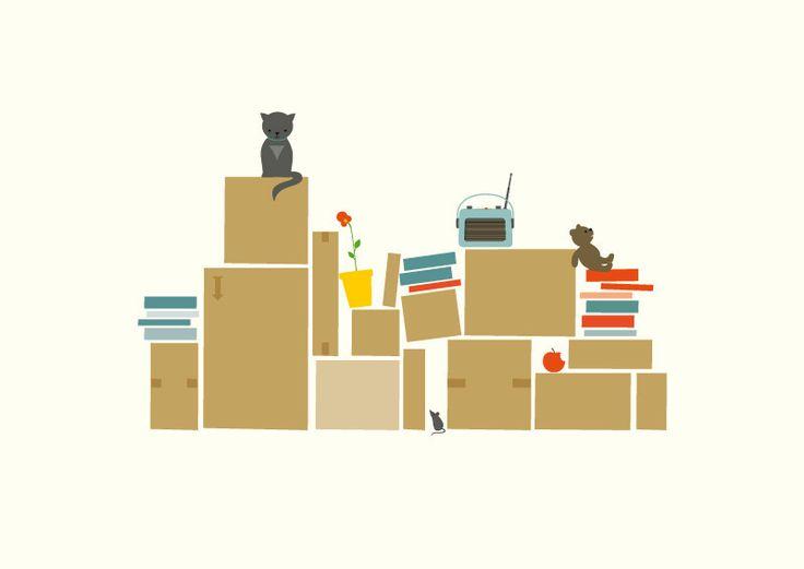 Postkarte 'Umzug' // Poscard 'We are moving' by superkiosque via DaWanda.com