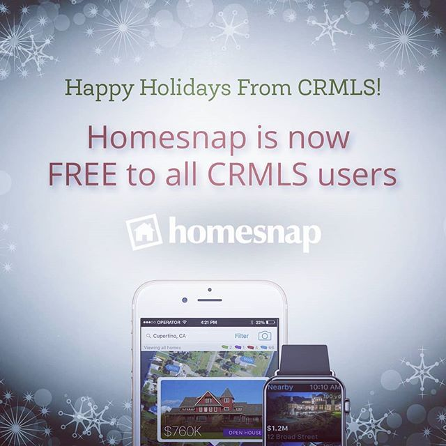Start 2018 with the top-rated resl estate app, Homesnap Pro, now FREE to all CRMLS users! Search HOMESNAP in the App Store and Google Play to get started. @homesnapapp #HOMESNAP #REALESTATELIFE #CRMLS #FREE #REALTORLIFE #localrealtors - posted by California Regional MLS https://www.instagram.com/crmlsnews - See more Real Estate photos from Local Realtors at https://LocalRealtors.com