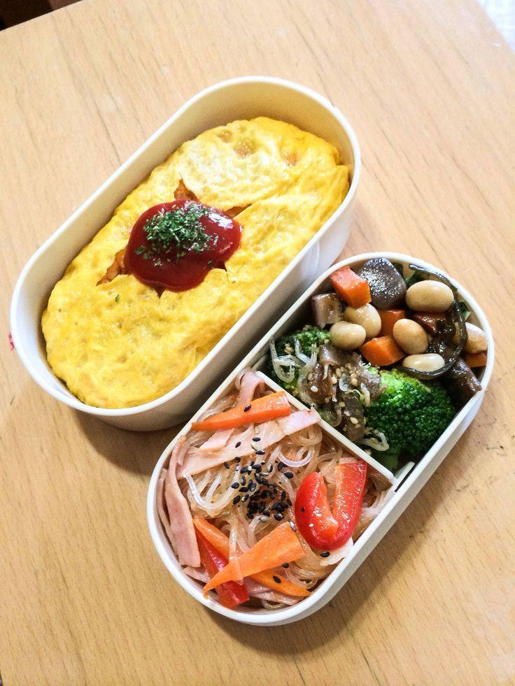 ・オムライス  ・春雨のピリ辛オイスターソース炒め  ・ブロッコリーのザーサイ白胡麻和え  ・五目豆煮