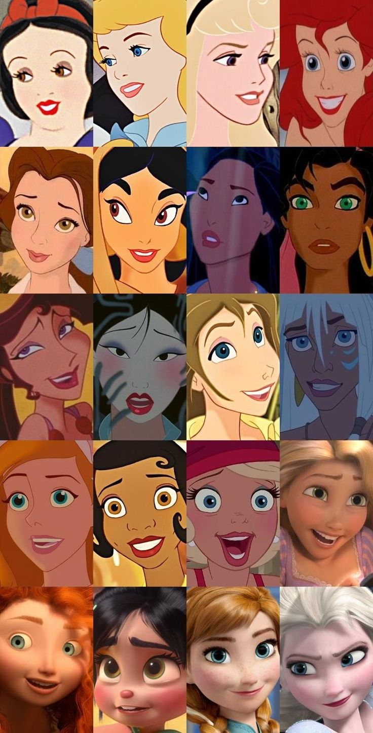 Faces (from top to bottom, going left to right): Snow White, Cinderella, Aurora, Ariel, Belle, Jasmine, Pocahontas, Esmeralda, Megara, Mulan, Jane Porter, Kida, Giselle, Tiana, Charlotte, Rapunzel, Merida, Vanellope, Anna, and Elsa