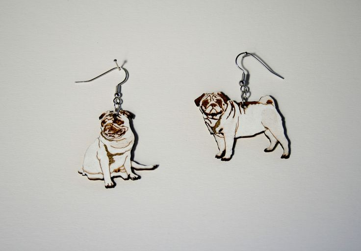 Mops, laser cutted and engraved plywood, hand painted