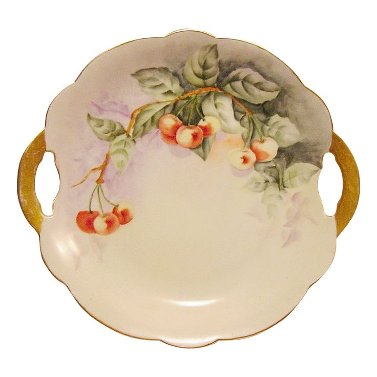 50% OFF! Limoges Porcelain Cake Plate ~ Delicious Looking Rainier Cherries ~ Hand Painted  ~ Limoges France – 1892+