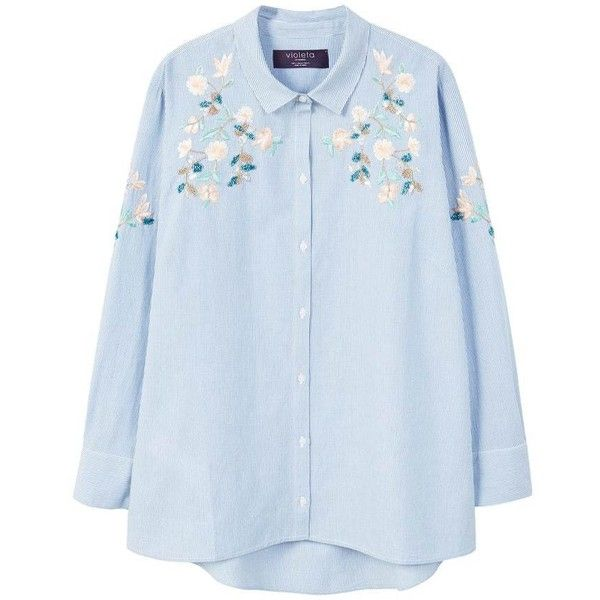 Floral Embroidered Blouse ($71) ❤ liked on Polyvore featuring tops, blouses, flower embroidered top, blue blouse, floral embroidered top, long sleeve blouse and mango blouse
