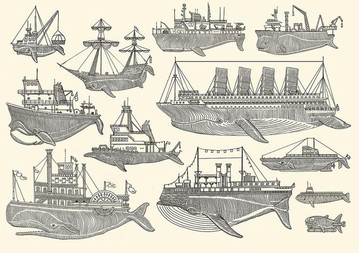 "liquid-proof:    "" Whale Boats "" ……  Screen Print by Artist: Kyler Martz"