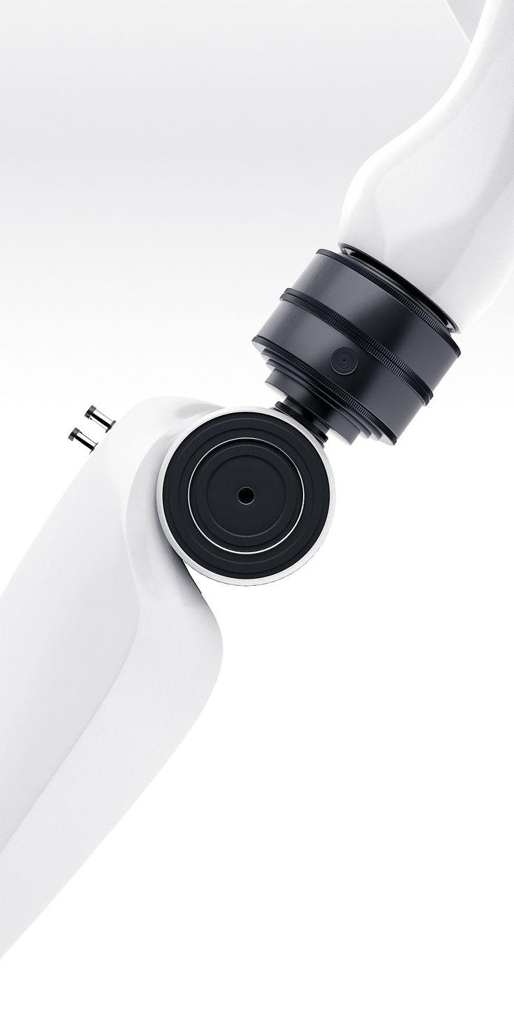 Artificial arm, plastic, white, anodized, aluminium, black