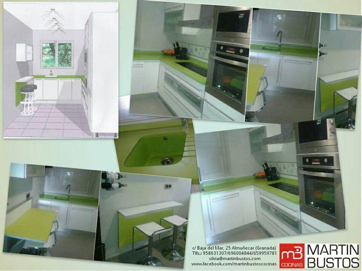 Cocina juvenil fresca con encimera silestone by for Empresas de muebles de cocina