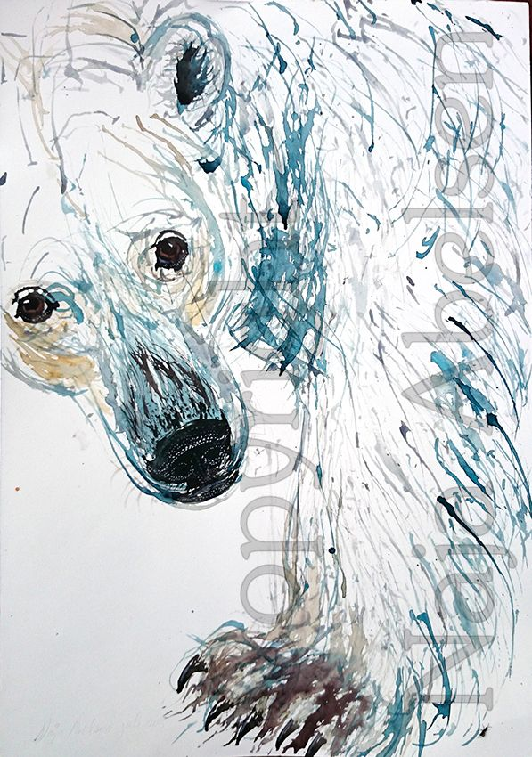 Snuden (The Snout) Watercolour of a polar bear, fantasy, just love this magnificent animal. By greenlandic artist Naja Abelsen, 2015. www.najaabelsen.dk