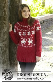 "Merry Red - Knitted DROPS jumper with round yoke and Norwegian pattern in ""Eskimo"". Size: S - XXXL. - Free pattern by DROPS Design"