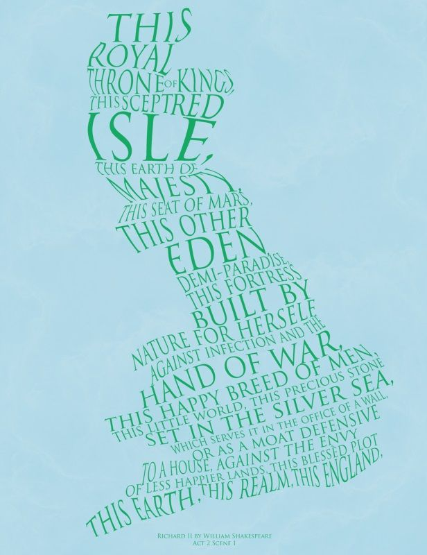 England print using part of the speech: 'This royal throne of kings, this sceptred isle...' Richard II (Act Two, Scene One) Richard II England Print | Prints | RSC Shop