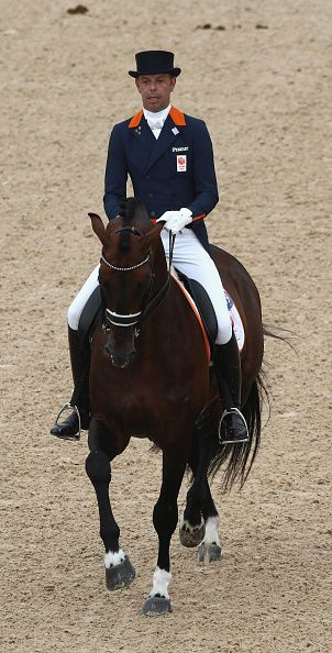 #RIO2016 Hans Peter Minderhoud of the Netherlands riding Johnson performs during the final day of the Dressage Grand Prix event on Day 7 of the Rio 2016...