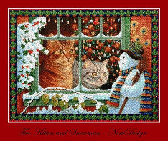 Two Kitten and Snowmand  cross stitch pattern  PDF by NeniDesign
