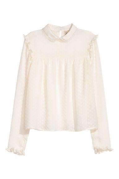 Chiffon blouse - White - Ladies   H&M GB