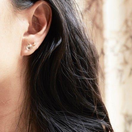Metis Sphere Stud Earrings with Rose Quartz: Brass