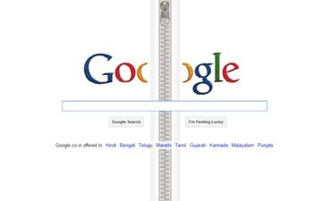 24.04.2012  Google page turned up as zipper!24 04 2012 Google, Web Design, Web Icons, Social Media, Google Doodles, Births Anniversaries, Fastening Zippers, 132Nd Births, Zippers Man