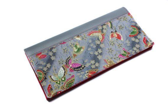 étui livret de famille en imitation cuir et tissu japonais gris
