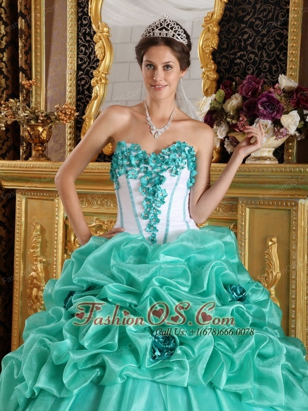 Discount Turquoise Quinceanera Dress Sweetheart Organza Hand Made Flowers Ball Gown  http://www.fashionos.com  unique quinceanera dress | quinceanera dress with lace | fitted quinceanera dress | quinceanera dress with hand made flowers | what is a quinceanera dress | turquoise quinceanera dress |