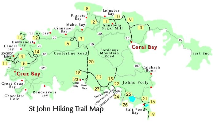 St John trail map with descriptions and times