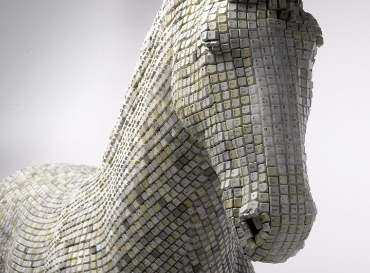 A horse sculpture made of computer keys.