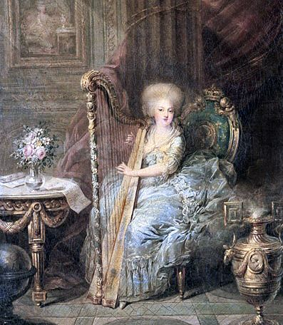 Marie Antoinette playing her harp. Her Imperial family in Austria was one that thoroughly enjoyed music. Antonia herself learned to play the harpsichord, spinet and clavichord, as well as the harp, taught by Gluck. During the family's musical evenings, she would sing French songs and Italian arias. She also excelled at dancing – an accomplishment often remarked by those who saw her.