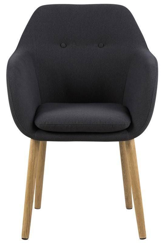 Selina Spisebordsstol - Grå - Smuk spisebordsstol i et nordisk og minimalistisk design. Stolens ryg har en unik detalje ved de to trykknapper og sædet/ryggen er betrukket i et mørkegråt stof. De flotte oliebehandlede egetræsben er med til, at fuldende det minimalistiske look.