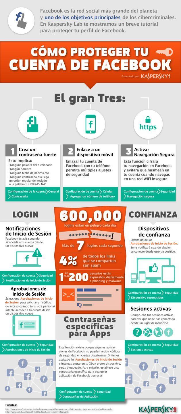 [es] Cómo proteger tu cuenta de Facebook #fb (Nota:  Nos encanta encontrarnos infográficos en español :)  )