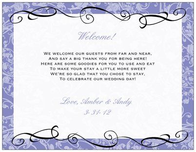poems for hotel welcome bags - March 2012 Weddings
