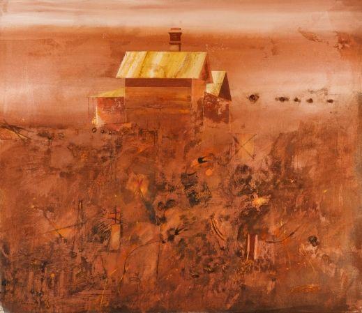 Robert Juniper (b.1929) : Landscape with Dwellings 1976