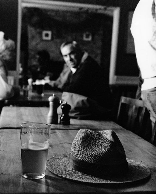 The man the pint and the panama by Keith Moss http://keithmoss.co.uk #street #film #ilford #keithmoss