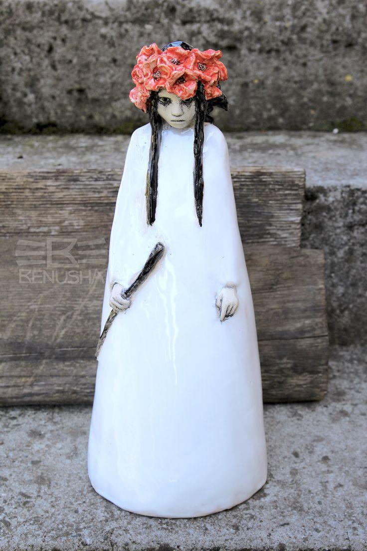 """Cicha"" (słowiański demon) - rzeźba ceramiczna. ""Cicha"" (""Silent"") Slavic demon. Ceramic sculpture. woman, girl"