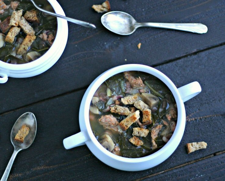 Sunday Suppers: Collard Greens Soup with Beans and Chicken Sausage ...