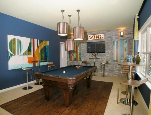 The terrace level of the lafayette square model home for Rec room pools