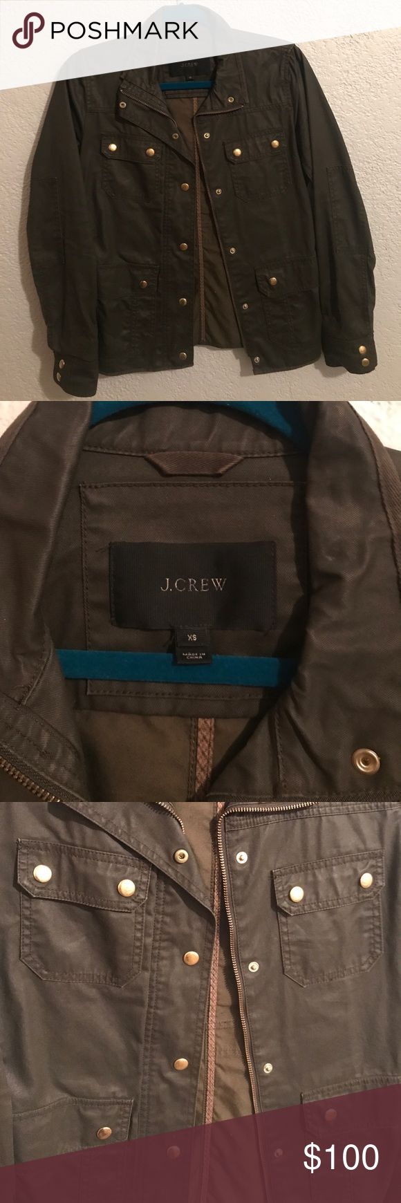 Olive green field jacket Jcrew jacket. Hardly been worn. A dark olive with gold hardware. J. Crew Jackets & Coats Utility Jackets