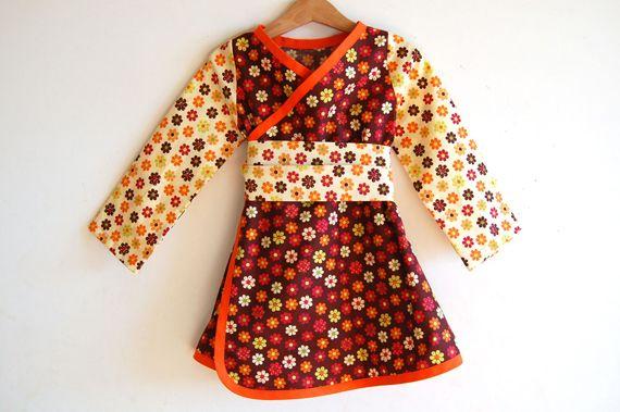 """Vestido cruzado tipo kimono """"flor de otoño"""" / melimelon - Artesanio: Flor De, Tipo Kimonos, Cruzado Tipo, Kimonos Flor, Fall, Eili Clothing, Vestidos Cruzado, Diseño Artesanal"""