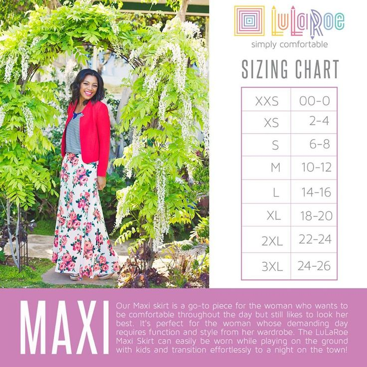 LuLaRoe Maxi skirt sizing guide https://www.facebook.com/groups/LuLaRoeWithHeidiSolomon/