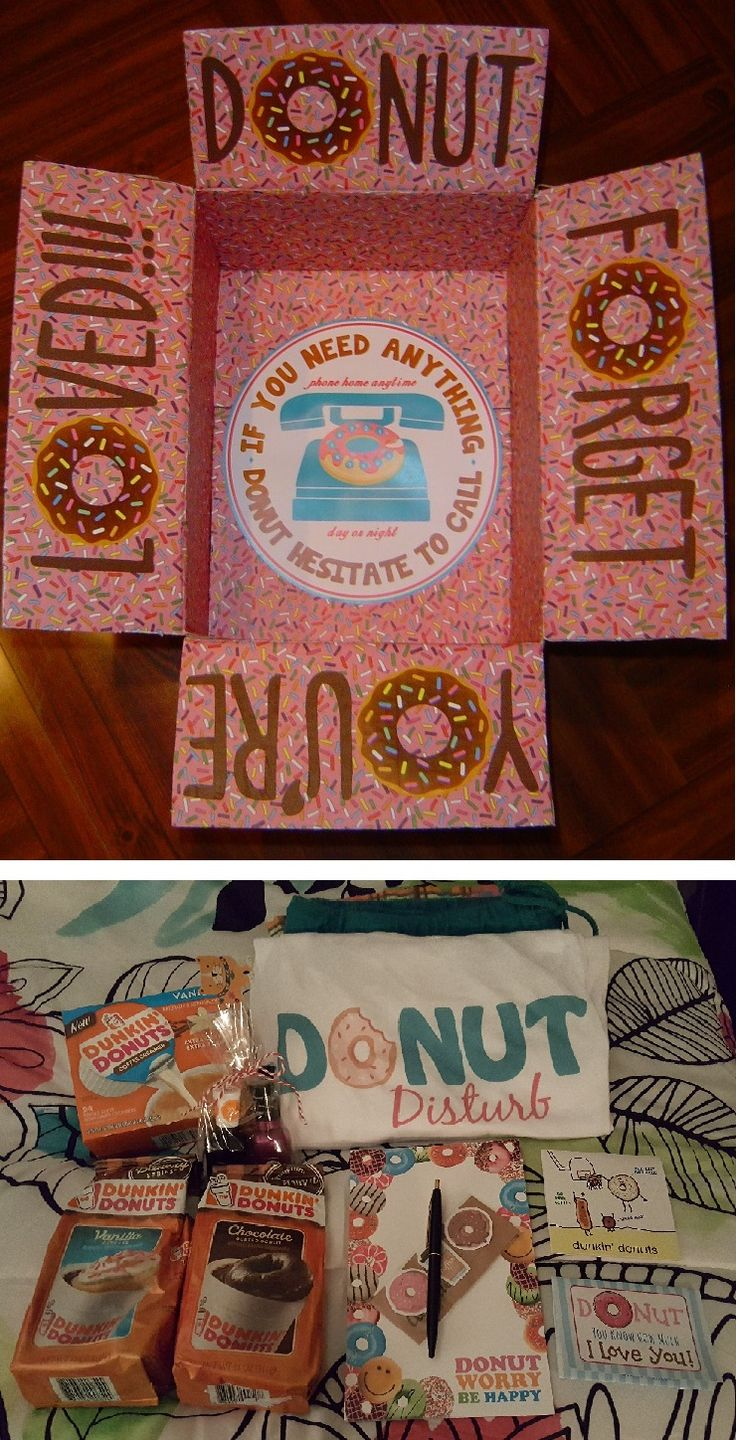 "Donut Forget You're Loved!!! care package. If You Need Anything - Donut Hesitate To Call. Sent to my daughter when she went off to college. Included ""Donut Disturb"" pajamas, Dunkin Donuts coffee & creamers, Krispy Kreme donuts, ""Donut Worry Be Happy"" notepad w/pen, donut & coffee page markers, and gift cards. Inside of dunkin' donuts card read - ""Have a slam dunkin' good time this year!"" and inside of Donut You Know How Much I Love You card read - ""Hope your day is sprinkled with fun!"""