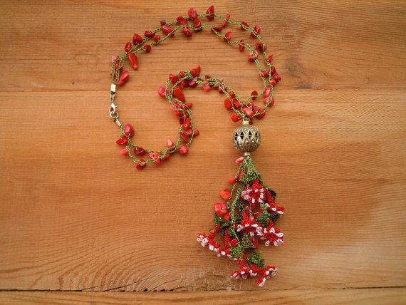 red necklace crochet needle lace flowers coral by PashaBodrum, $25.00