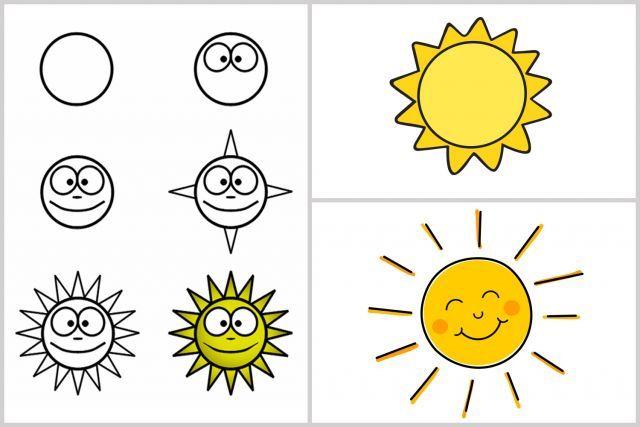 Techniques faciles pour apprendre à dessiner #enfants #Soleil