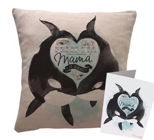 Un regalo para el día de la Madre. Cojín de lino de con ilustración exclusiva, familia de Orcas.