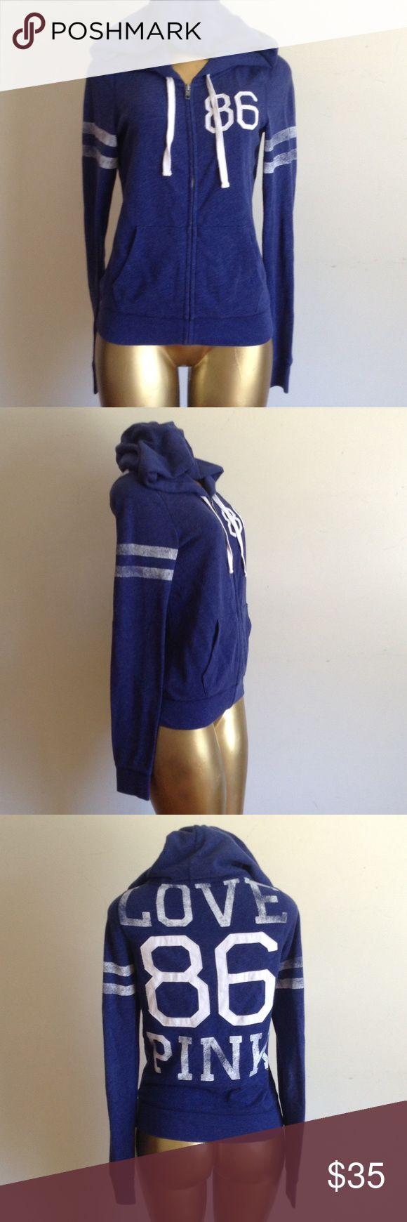 🌹 PINK ZIP UP JACKET HOODIE 🌹 🌹 VICTORIA'S SECRET PINK BLUE AND WHITE ZIP UP HOOED JACKET 🌹 PINK Victoria's Secret Jackets & Coats