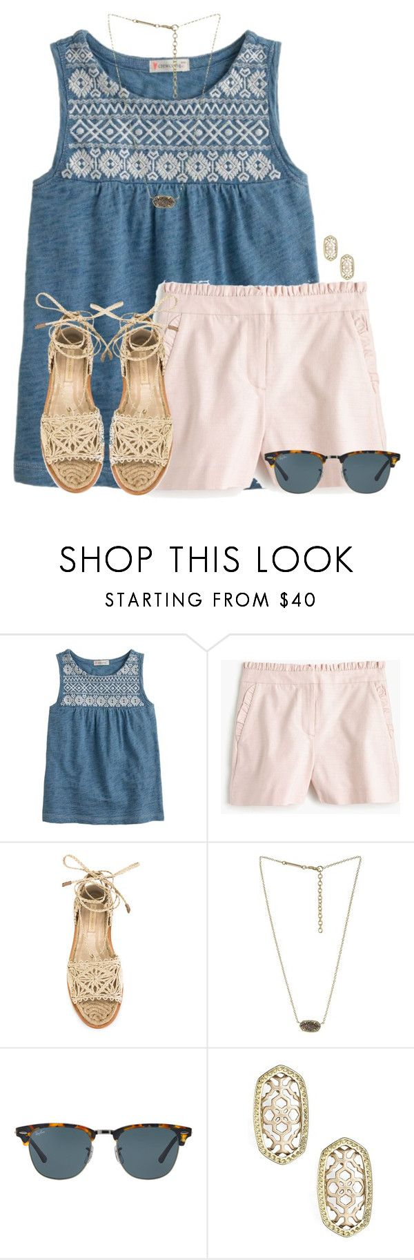 """When your teacher doesn't care so he lets you play cards:)"" by flroasburn on Polyvore featuring J.Crew, Paloma Barceló, Kendra Scott and Ray-Ban"