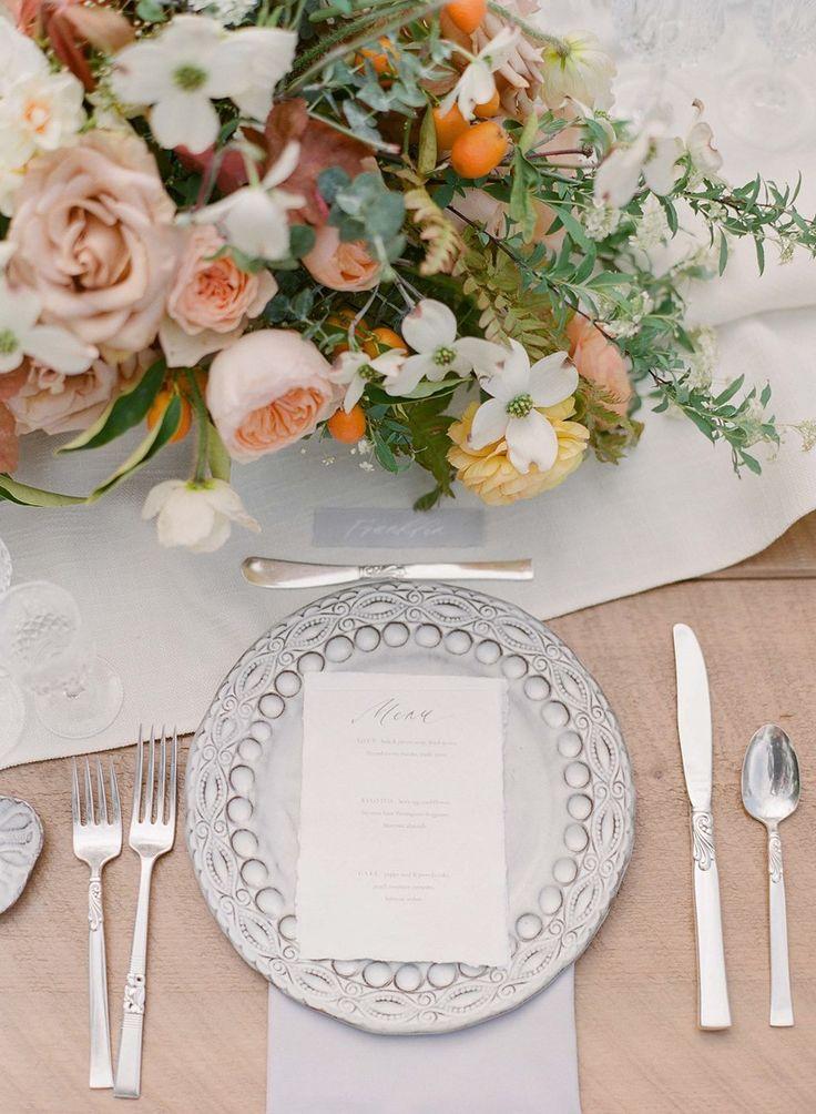 Elegant Peach Wedding Place Setting