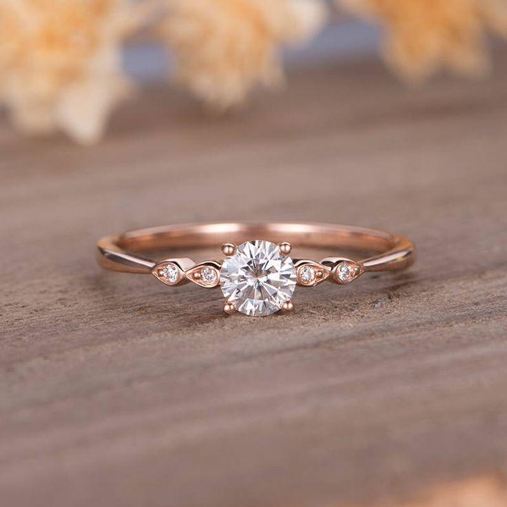 Moissanite Verlobungsring Rotgold Solitaire Marquise Diamond Bridal Ring Dain ...