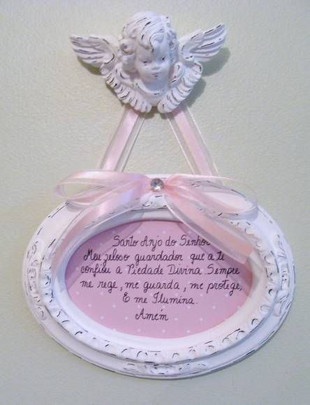 Quadro com oração do santo anjo em gesso R$ 28,00