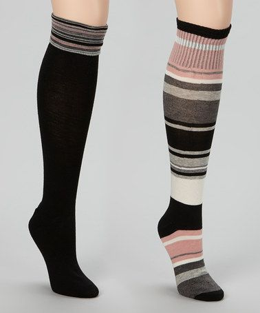 Take a look at this Black & Blush Stripe Knee-High Socks Set by Chinese Laundry on #zulily today! $8.99