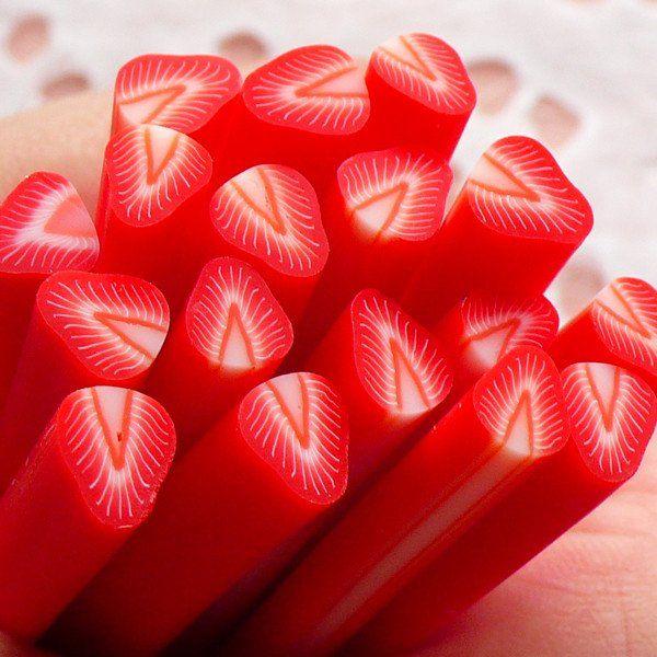 Polymer Clay Cane Strawberry Cane Fruit Fimo Cane (Cane or Slices) Miniature Sweets Dollhouse Ice Cream Sundae Decoration Nail Art CF006