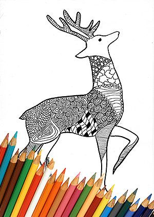 Christmas reindeer deer coloring page download adults children