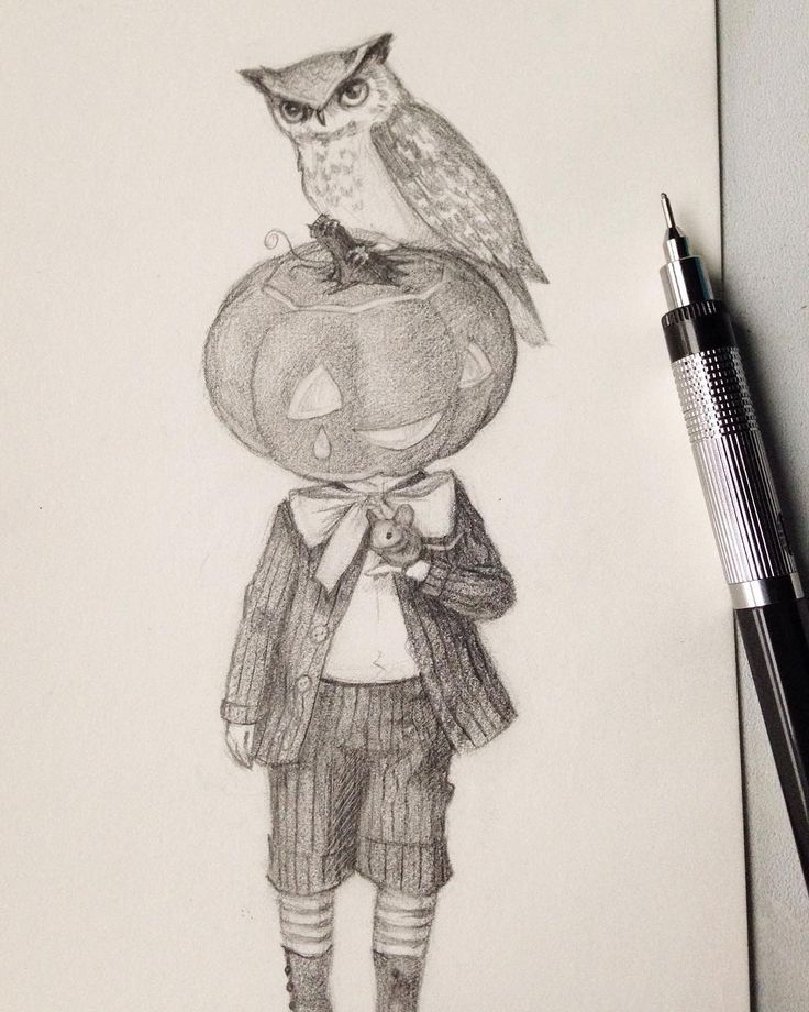 Drawlloween day 12: Jack o' lantern. Went with a weird little Victorian boy and his two pets 🐭#mabsdrawlloweenclub #drawlloween #jackolantern #owl