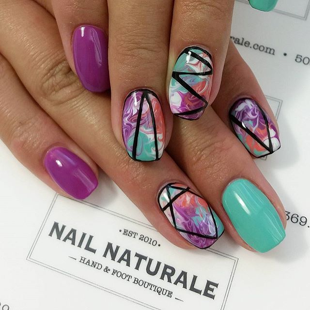 Our own @nailnaturale_ashley with fun marbled nails #marblenails #summerstay…